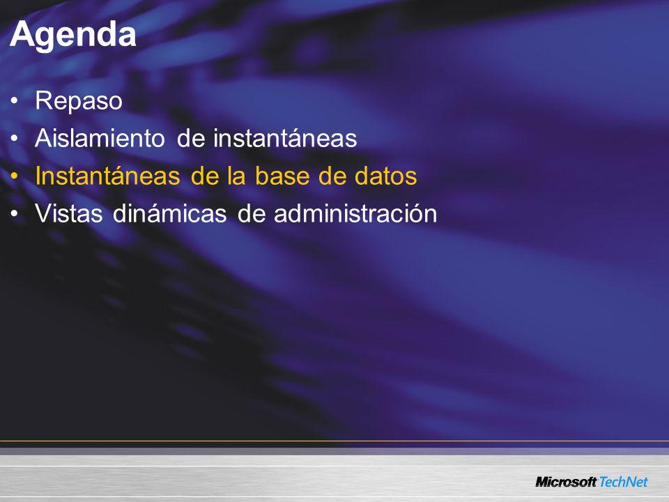Agenda Repaso Aislamiento de instantáneas Instantáneas de la base de datos Vistas dinámicas de administración