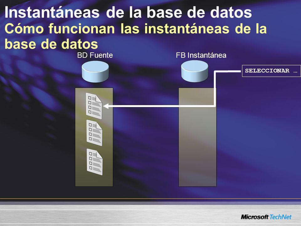 Instantáneas de la base de datos Cómo funcionan las instantáneas de la base de datos SELECCIONAR … BD FuenteFB Instantánea