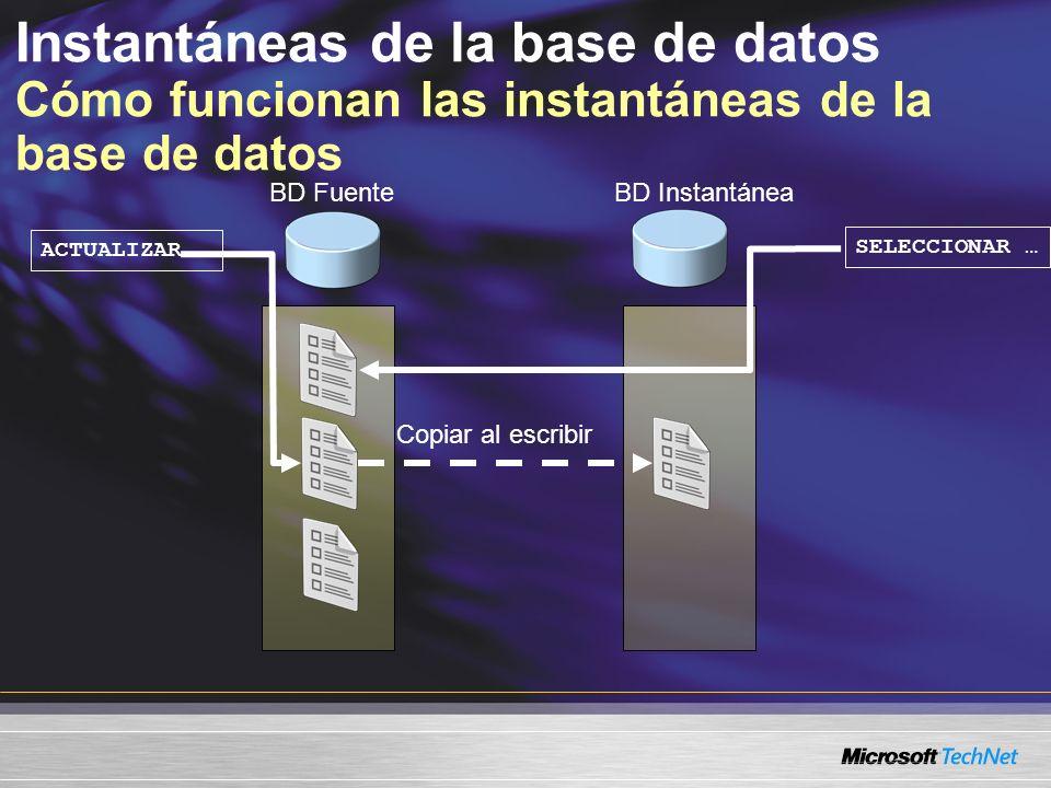Instantáneas de la base de datos Cómo funcionan las instantáneas de la base de datos ACTUALIZAR … SELECCIONAR … Copiar al escribir BD FuenteBD Instantánea
