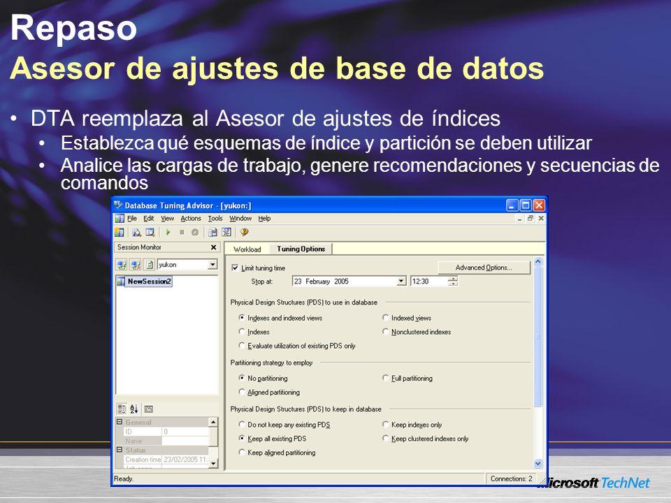 Repaso Asesor de ajustes de base de datos DTA reemplaza al Asesor de ajustes de índices Establezca qué esquemas de índice y partición se deben utilizar Analice las cargas de trabajo, genere recomendaciones y secuencias de comandos