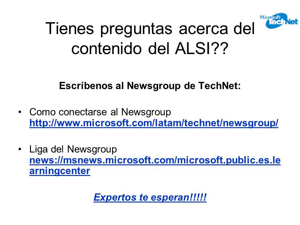 Tienes preguntas acerca del contenido del ALSI .