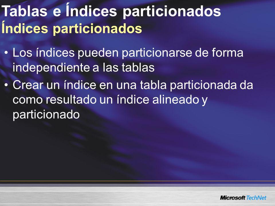 Tablas e Índices particionados Índices particionados Los índices pueden particionarse de forma independiente a las tablas Crear un índice en una tabla particionada da como resultado un índice alineado y particionado