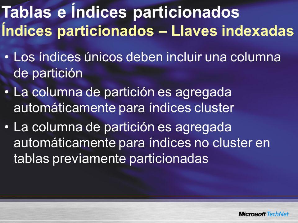 Tablas e Índices particionados Índices particionados – Llaves indexadas Los índices únicos deben incluir una columna de partición La columna de partición es agregada automáticamente para índices cluster La columna de partición es agregada automáticamente para índices no cluster en tablas previamente particionadas