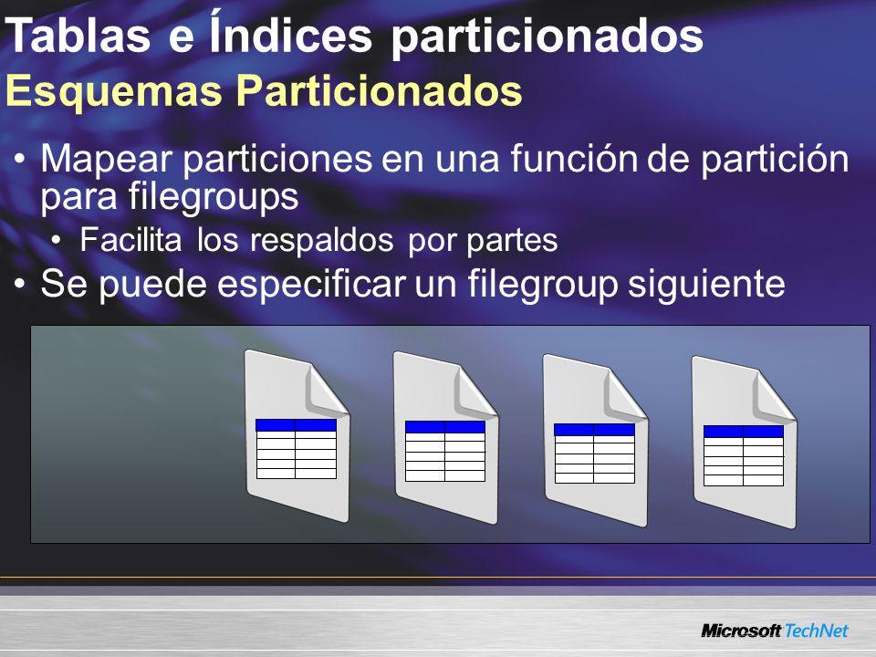 Tablas e Índices particionados Esquemas Particionados Mapear particiones en una función de partición para filegroups Facilita los respaldos por partes Se puede especificar un filegroup siguiente