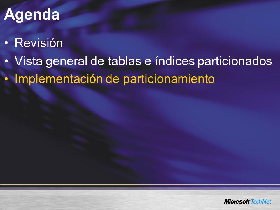 Agenda Revisión Vista general de tablas e índices particionados Implementación de particionamiento