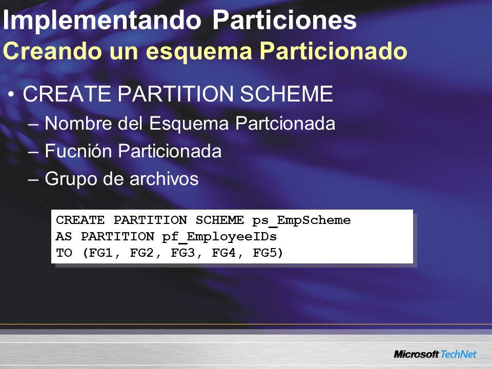 Implementando Particiones Creando un esquema Particionado CREATE PARTITION SCHEME –Nombre del Esquema Partcionada –Fucnión Particionada –Grupo de archivos CREATE PARTITION SCHEME ps_EmpScheme AS PARTITION pf_EmployeeIDs TO (FG1, FG2, FG3, FG4, FG5) CREATE PARTITION SCHEME ps_EmpScheme AS PARTITION pf_EmployeeIDs TO (FG1, FG2, FG3, FG4, FG5)