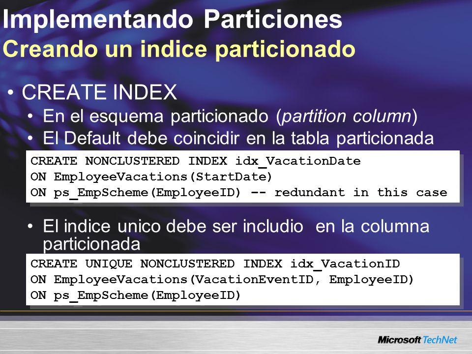 Implementando Particiones Creando un indice particionado CREATE INDEX En el esquema particionado (partition column) El Default debe coincidir en la tabla particionada El indice unico debe ser includio en la columna particionada CREATE NONCLUSTERED INDEX idx_VacationDate ON EmployeeVacations(StartDate) ON ps_EmpScheme(EmployeeID) –- redundant in this case CREATE NONCLUSTERED INDEX idx_VacationDate ON EmployeeVacations(StartDate) ON ps_EmpScheme(EmployeeID) –- redundant in this case CREATE UNIQUE NONCLUSTERED INDEX idx_VacationID ON EmployeeVacations(VacationEventID, EmployeeID) ON ps_EmpScheme(EmployeeID) CREATE UNIQUE NONCLUSTERED INDEX idx_VacationID ON EmployeeVacations(VacationEventID, EmployeeID) ON ps_EmpScheme(EmployeeID)