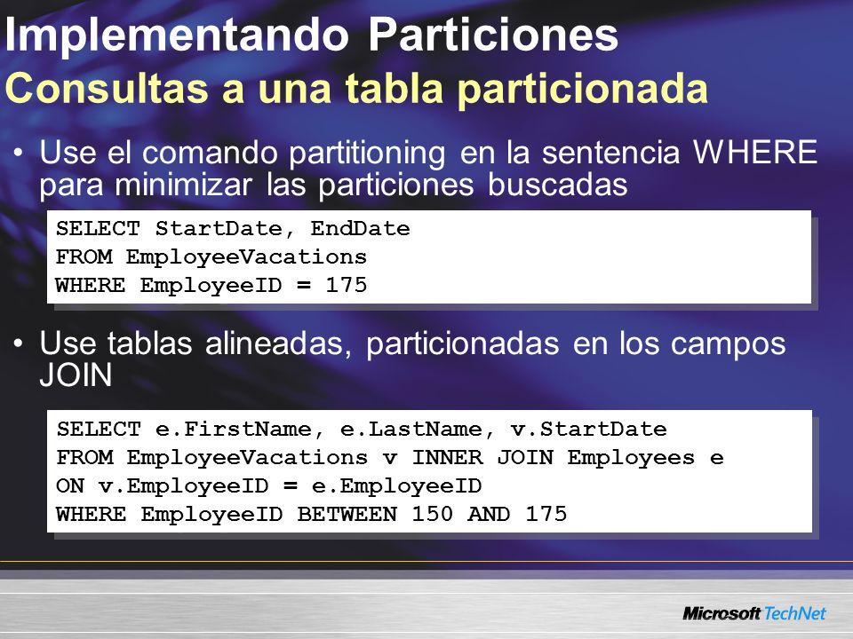 Implementando Particiones Consultas a una tabla particionada Use el comando partitioning en la sentencia WHERE para minimizar las particiones buscadas Use tablas alineadas, particionadas en los campos JOIN SELECT StartDate, EndDate FROM EmployeeVacations WHERE EmployeeID = 175 SELECT StartDate, EndDate FROM EmployeeVacations WHERE EmployeeID = 175 SELECT e.FirstName, e.LastName, v.StartDate FROM EmployeeVacations v INNER JOIN Employees e ON v.EmployeeID = e.EmployeeID WHERE EmployeeID BETWEEN 150 AND 175 SELECT e.FirstName, e.LastName, v.StartDate FROM EmployeeVacations v INNER JOIN Employees e ON v.EmployeeID = e.EmployeeID WHERE EmployeeID BETWEEN 150 AND 175