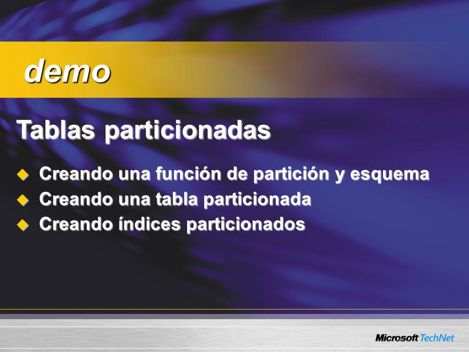 Tablas particionadas Creando una función de partición y esquema Creando una función de partición y esquema Creando una tabla particionada Creando una tabla particionada Creando índices particionados Creando índices particionados demo demo