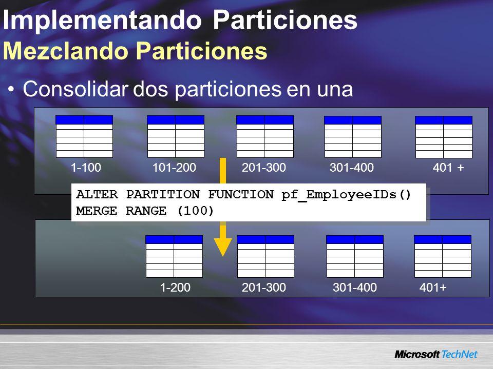 Implementando Particiones Mezclando Particiones Consolidar dos particiones en una 101-200201-300301-400 201-300301-400401+ 1-100 1-200 ALTER PARTITION FUNCTION pf_EmployeeIDs() MERGE RANGE (100) ALTER PARTITION FUNCTION pf_EmployeeIDs() MERGE RANGE (100)