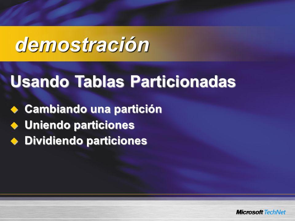 Usando Tablas Particionadas Cambiando una partición Cambiando una partición Uniendo particiones Uniendo particiones Dividiendo particiones Dividiendo particiones demostración demostración