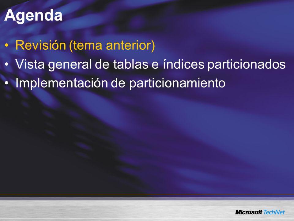 Agenda Revisión (tema anterior) Vista general de tablas e índices particionados Implementación de particionamiento