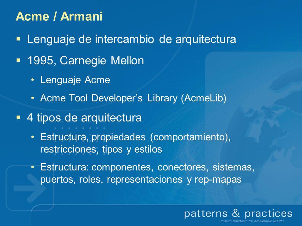 Acme / Armani Lenguaje de intercambio de arquitectura 1995, Carnegie Mellon Lenguaje Acme Acme Tool Developers Library (AcmeLib) 4 tipos de arquitectu