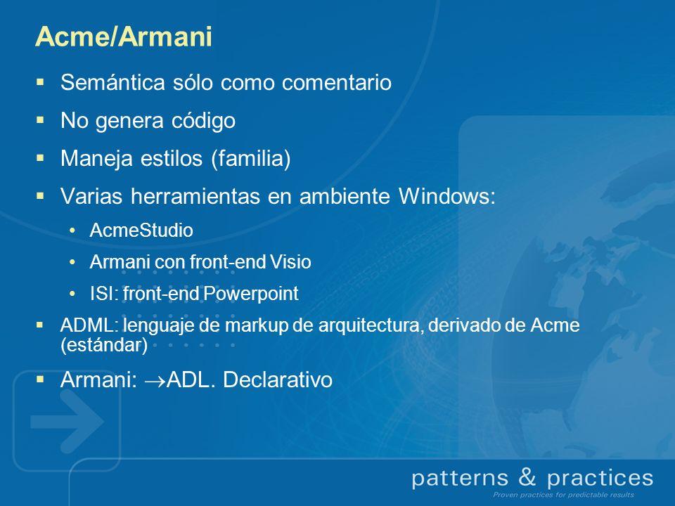 Acme/Armani Semántica sólo como comentario No genera código Maneja estilos (familia) Varias herramientas en ambiente Windows: AcmeStudio Armani con fr