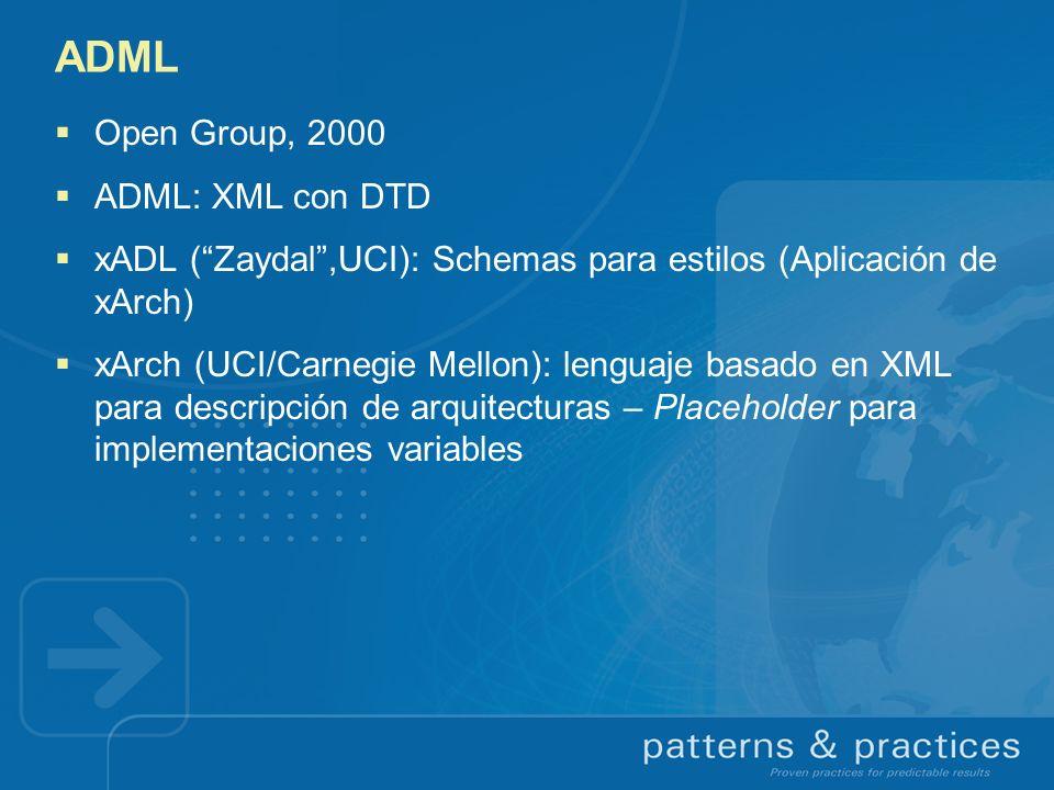 ADML Open Group, 2000 ADML: XML con DTD xADL (Zaydal,UCI): Schemas para estilos (Aplicación de xArch) xArch (UCI/Carnegie Mellon): lenguaje basado en