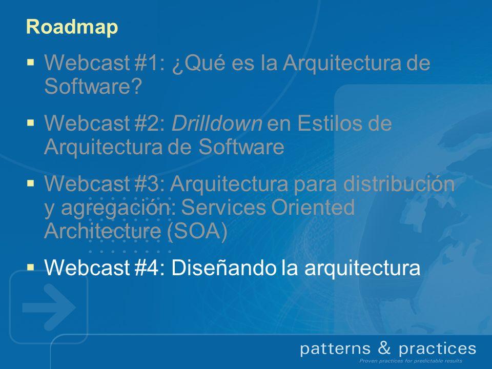 Roadmap Webcast #1: ¿Qué es la Arquitectura de Software? Webcast #2: Drilldown en Estilos de Arquitectura de Software Webcast #3: Arquitectura para di
