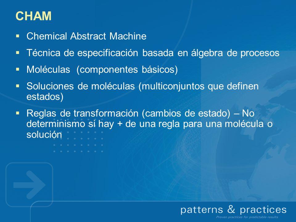 CHAM Chemical Abstract Machine Técnica de especificación basada en álgebra de procesos Moléculas (componentes básicos) Soluciones de moléculas (multic