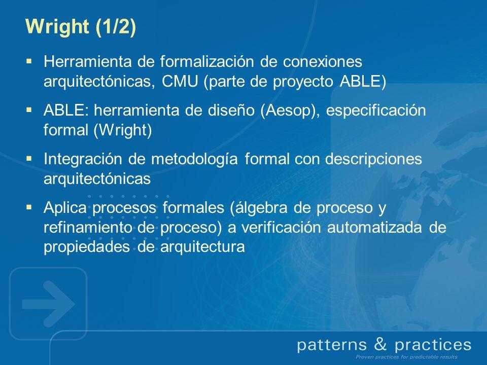 Wright (1/2) Herramienta de formalización de conexiones arquitectónicas, CMU (parte de proyecto ABLE) ABLE: herramienta de diseño (Aesop), especificac