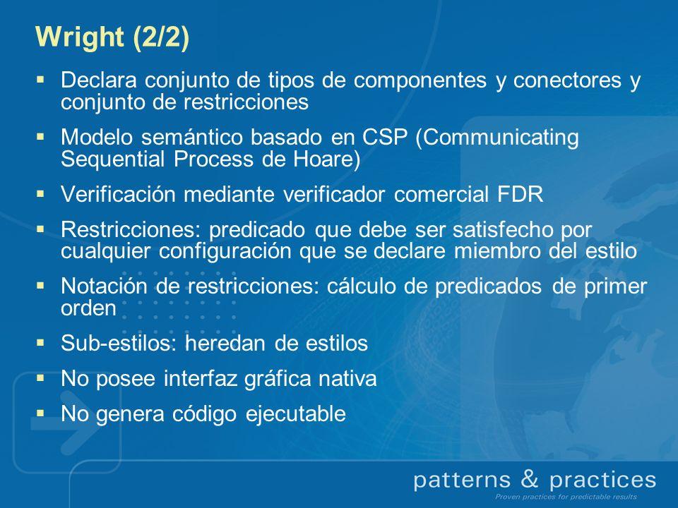 Wright (2/2) Declara conjunto de tipos de componentes y conectores y conjunto de restricciones Modelo semántico basado en CSP (Communicating Sequentia