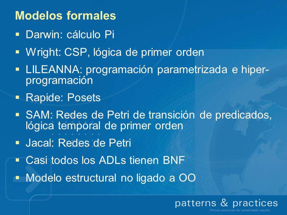 Modelos formales Darwin: cálculo Pi Wright: CSP, lógica de primer orden LILEANNA: programación parametrizada e hiper- programación Rapide: Posets SAM: