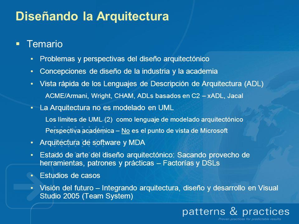 UML Limitaciones arquitectónicas Cuestionamientos genéricos (cont.) Soporte insatisfactorio para desarrollo basado en componentes Posibilidad de incurrir en el síndrome de la segunda versión (Brooks) Poca orientación semántica para arquitectos (p.ej.