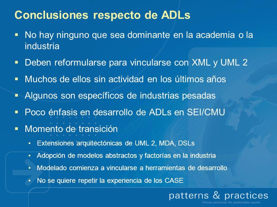 Conclusiones respecto de ADLs No hay ninguno que sea dominante en la academia o la industria Deben reformularse para vincularse con XML y UML 2 Muchos