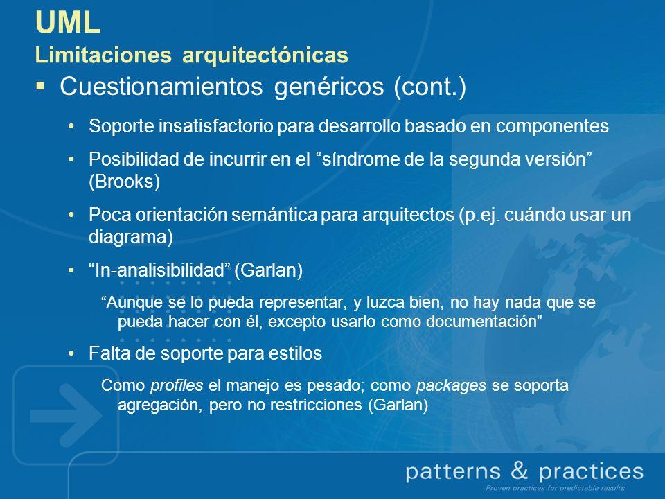 UML Limitaciones arquitectónicas Cuestionamientos genéricos (cont.) Soporte insatisfactorio para desarrollo basado en componentes Posibilidad de incur