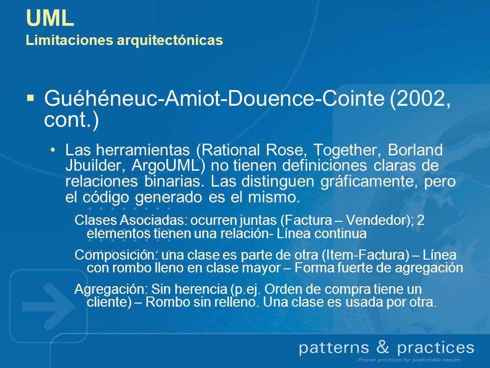 UML Limitaciones arquitectónicas Guéhéneuc-Amiot-Douence-Cointe (2002, cont.) Las herramientas (Rational Rose, Together, Borland Jbuilder, ArgoUML) no