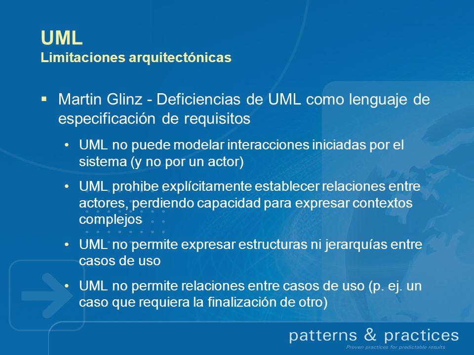 UML Limitaciones arquitectónicas Martin Glinz - Deficiencias de UML como lenguaje de especificación de requisitos UML no puede modelar interacciones i