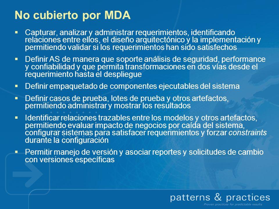 No cubierto por MDA Capturar, analizar y administrar requerimientos, identificando relaciones entre ellos, el diseño arquitectónico y la implementació