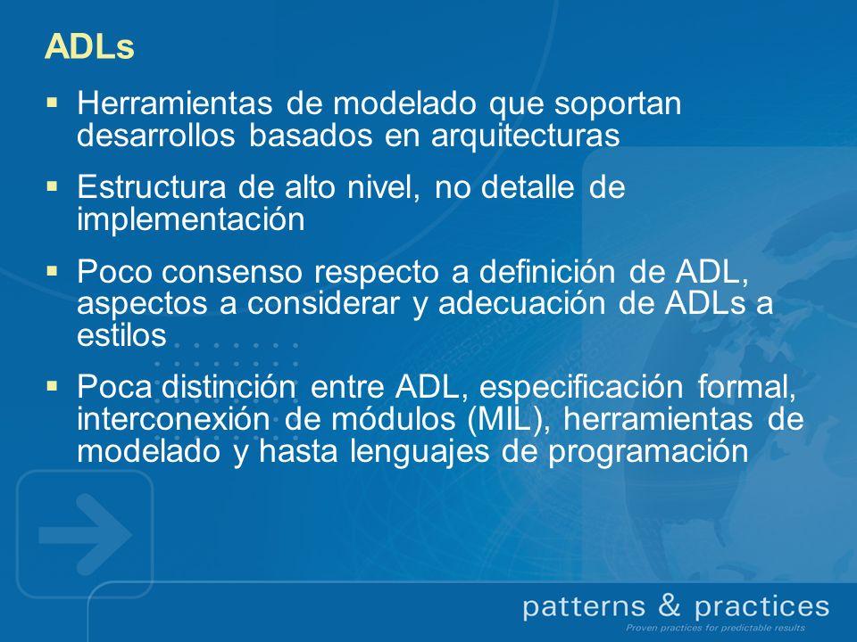 ADLs Herramientas de modelado que soportan desarrollos basados en arquitecturas Estructura de alto nivel, no detalle de implementación Poco consenso r