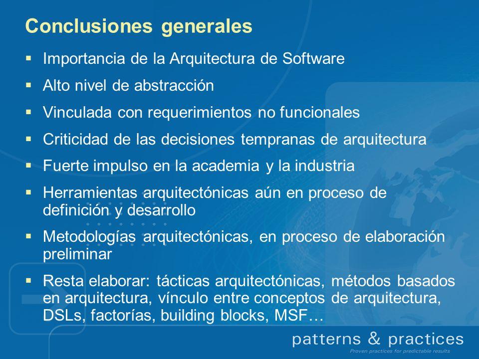 Conclusiones generales Importancia de la Arquitectura de Software Alto nivel de abstracción Vinculada con requerimientos no funcionales Criticidad de