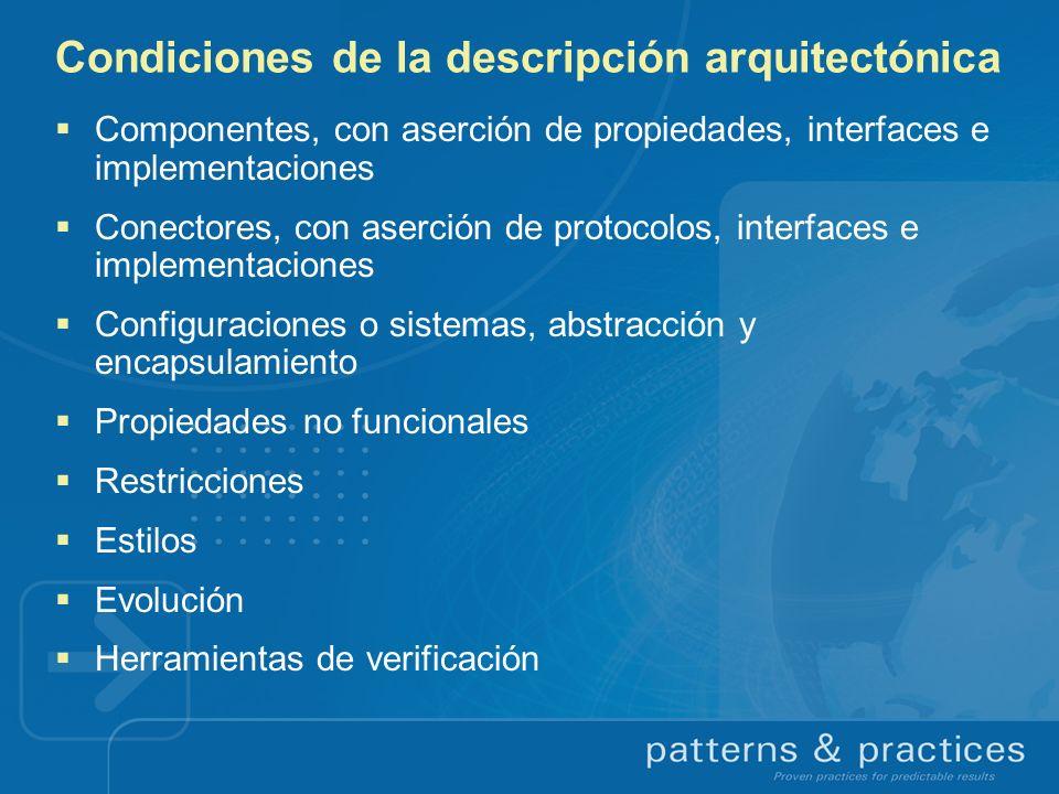 Condiciones de la descripción arquitectónica Componentes, con aserción de propiedades, interfaces e implementaciones Conectores, con aserción de proto