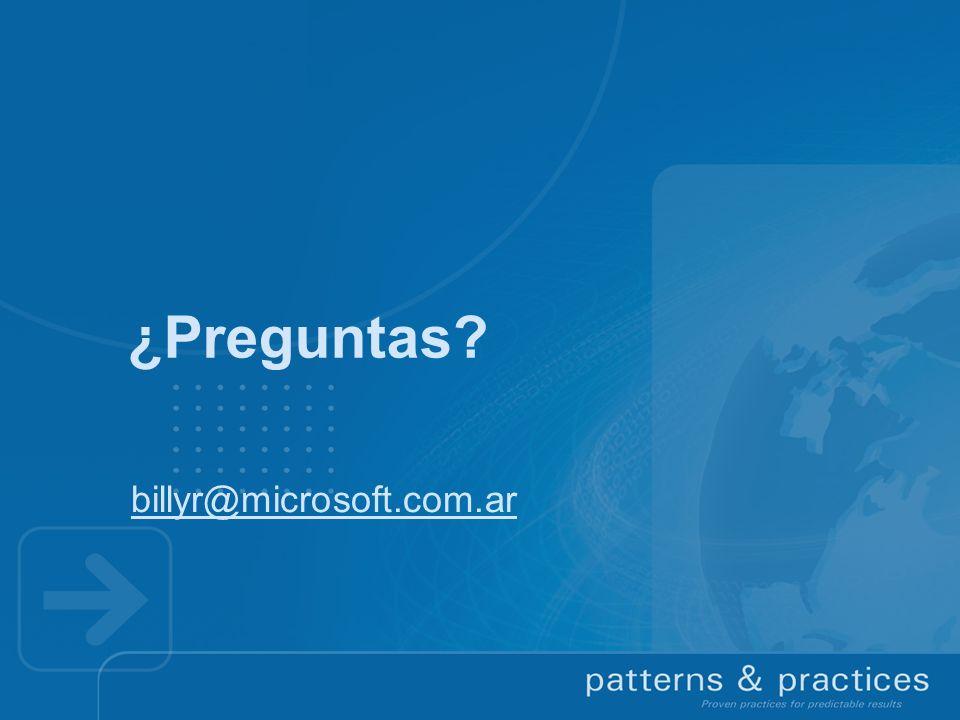 ¿Preguntas? billyr@microsoft.com.ar