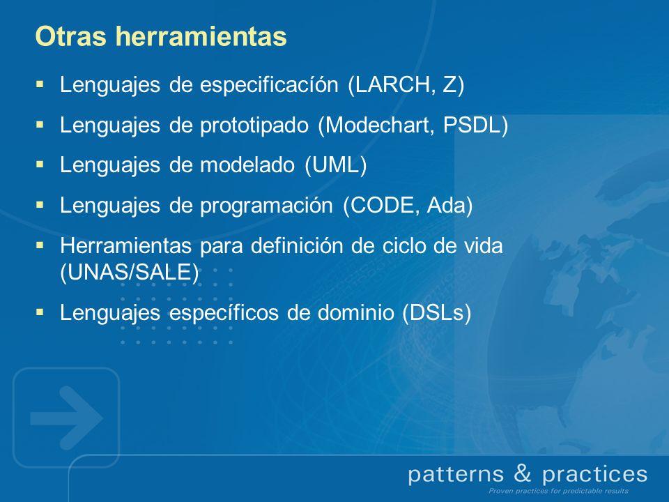 Otras herramientas Lenguajes de especificacíón (LARCH, Z) Lenguajes de prototipado (Modechart, PSDL) Lenguajes de modelado (UML) Lenguajes de programa