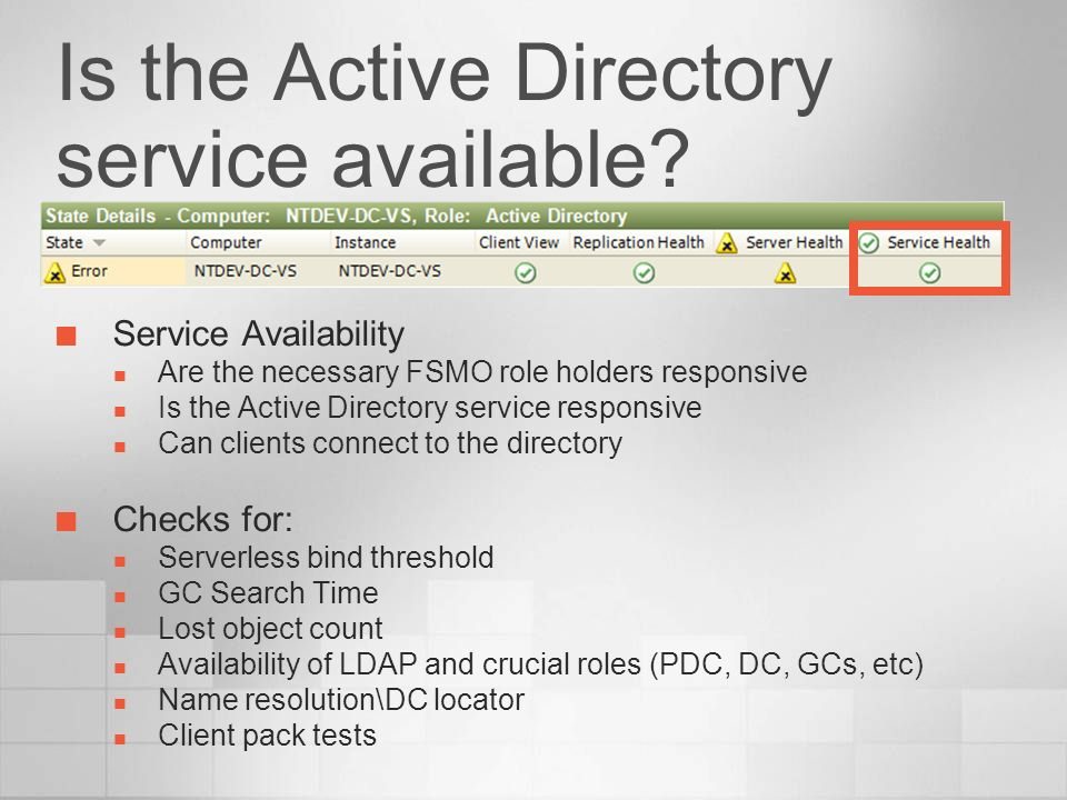 Is the Active Directory service available? Service Availability Are the necessary FSMO role holders responsive Is the Active Directory service respons