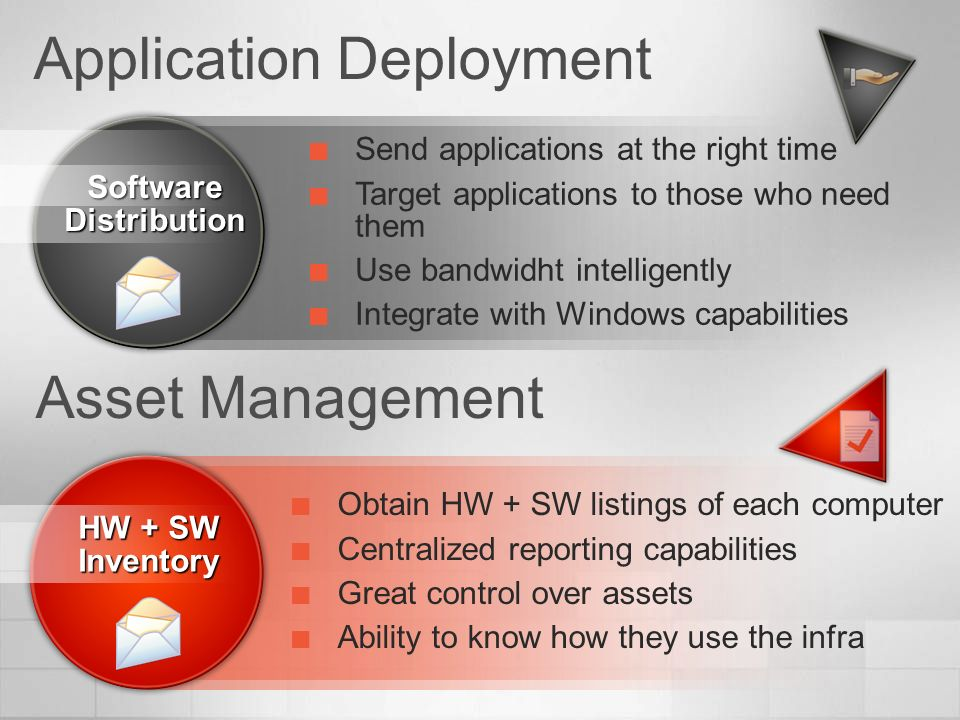 Application Deployment Software Distribution Send applications at the right time Target applications to those who need them Use bandwidht intelligentl