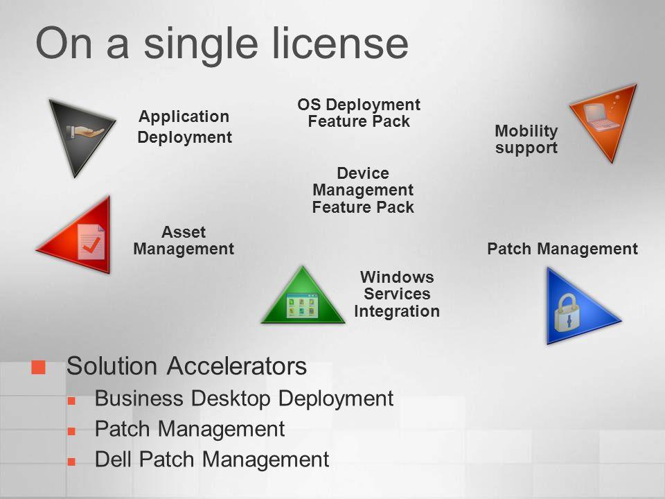 On a single license Solution Accelerators Business Desktop Deployment Patch Management Dell Patch Management Application Deployment Asset Management M