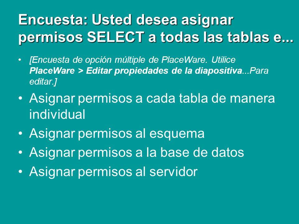 Encuesta: Usted desea asignar permisos SELECT a todas las tablas e... [Encuesta de opción múltiple de PlaceWare. Utilice PlaceWare > Editar propiedade