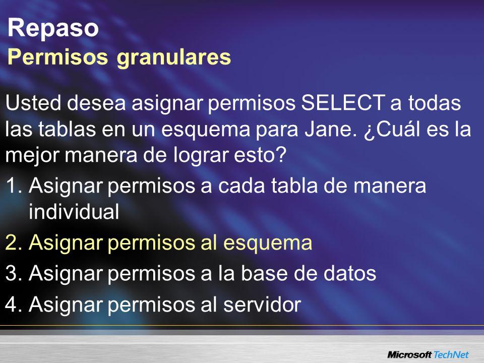 Repaso Permisos granulares Usted desea asignar permisos SELECT a todas las tablas en un esquema para Jane. ¿Cuál es la mejor manera de lograr esto? 1.