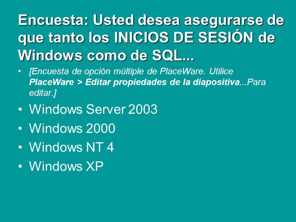 Encuesta: Usted desea asegurarse de que tanto los INICIOS DE SESIÓN de Windows como de SQL... [Encuesta de opción múltiple de PlaceWare. Utilice Place