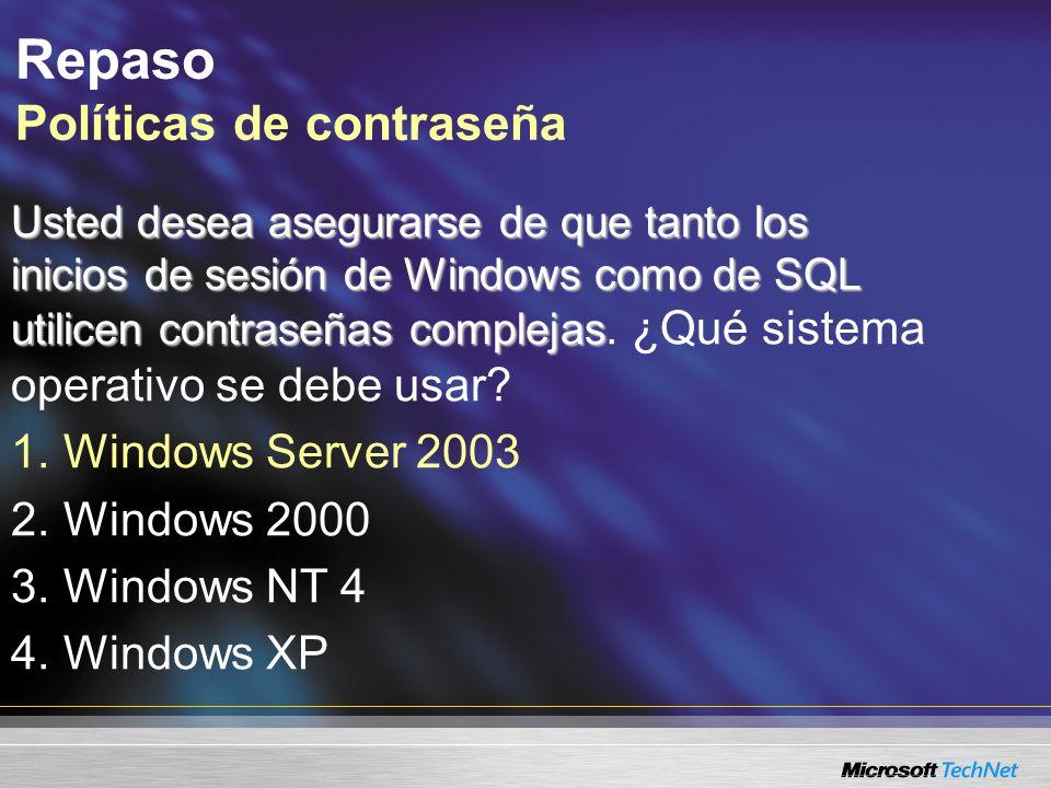 Repaso Políticas de contraseña Usted desea asegurarse de que tanto los inicios de sesión de Windows como de SQL utilicen contraseñas complejas Usted d