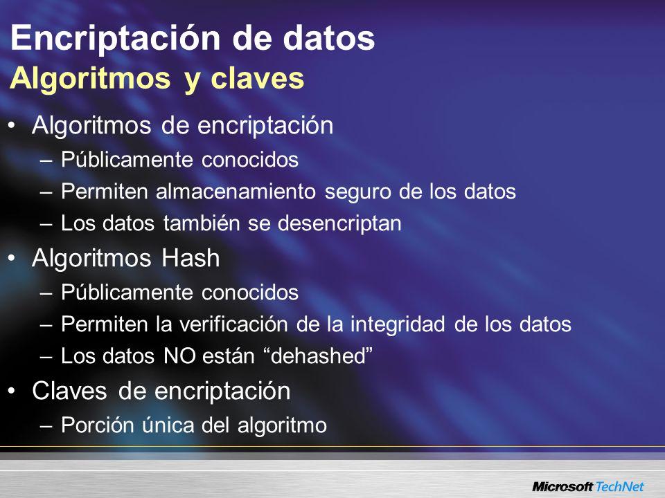 Encriptación de datos Algoritmos y claves Algoritmos de encriptación –Públicamente conocidos –Permiten almacenamiento seguro de los datos –Los datos t