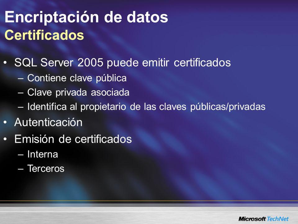 Encriptación de datos Certificados SQL Server 2005 puede emitir certificados –Contiene clave pública –Clave privada asociada –Identifica al propietari