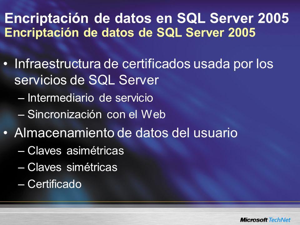 Encriptación de datos en SQL Server 2005 Encriptación de datos de SQL Server 2005 Infraestructura de certificados usada por los servicios de SQL Serve