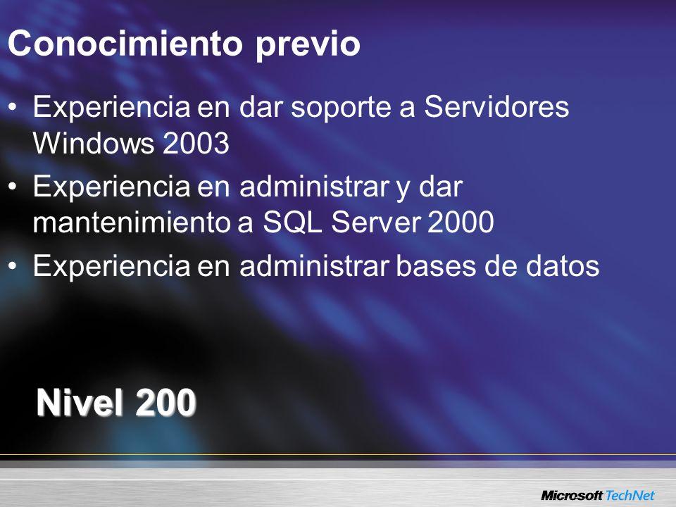 Conocimiento previo Nivel 200 Experiencia en dar soporte a Servidores Windows 2003 Experiencia en administrar y dar mantenimiento a SQL Server 2000 Ex