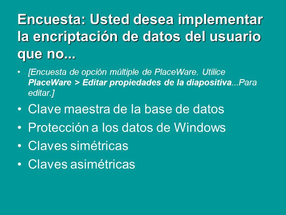 Encuesta: Usted desea implementar la encriptación de datos del usuario que no... [Encuesta de opción múltiple de PlaceWare. Utilice PlaceWare > Editar