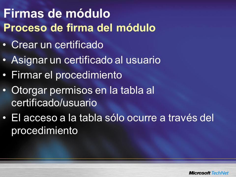 Firmas de módulo Proceso de firma del módulo Crear un certificado Asignar un certificado al usuario Firmar el procedimiento Otorgar permisos en la tab
