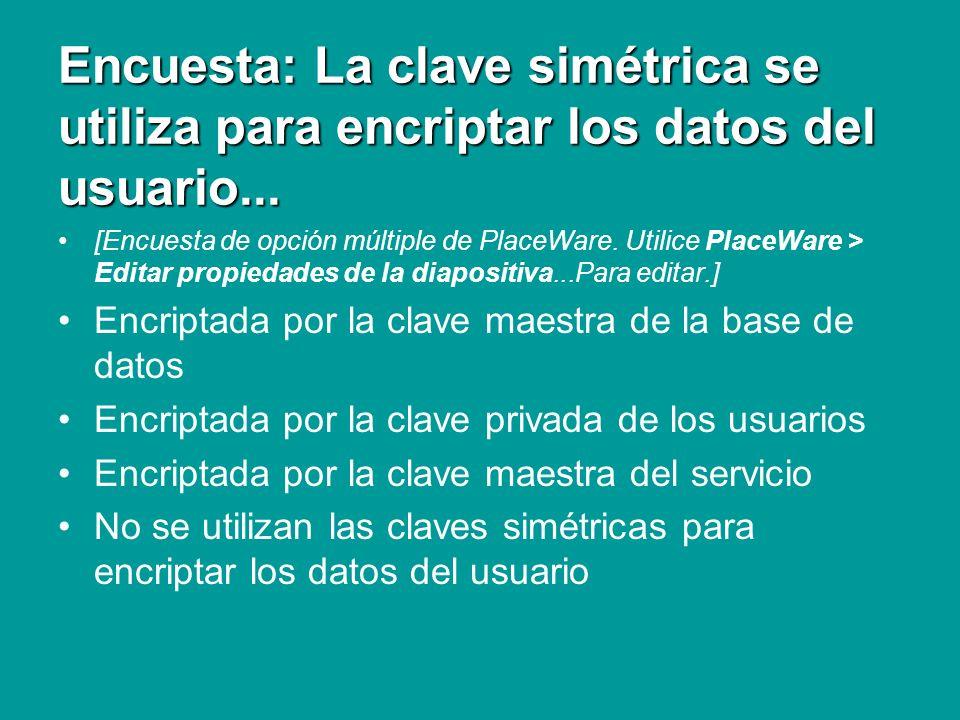 Encuesta: La clave simétrica se utiliza para encriptar los datos del usuario... [Encuesta de opción múltiple de PlaceWare. Utilice PlaceWare > Editar