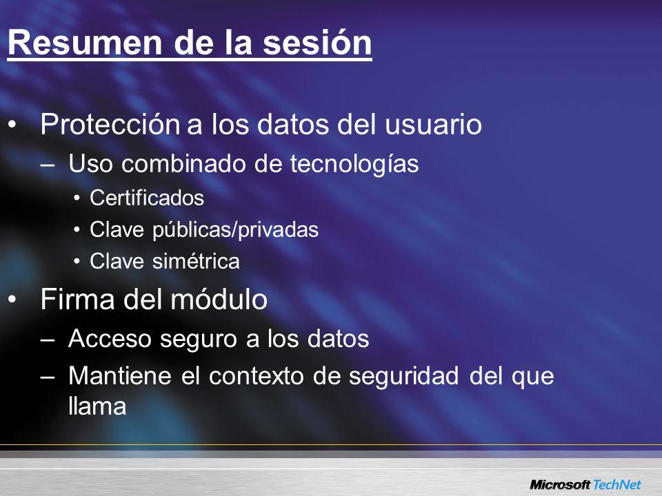 Resumen de la sesión Protección a los datos del usuario –Uso combinado de tecnologías Certificados Clave públicas/privadas Clave simétrica Firma del m